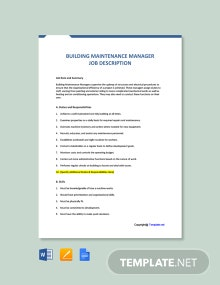 Free Building Maintenance Manager Job Description Template