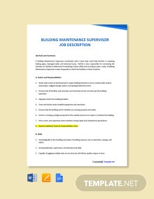 Free Building Maintenance Supervisor Job Description Template
