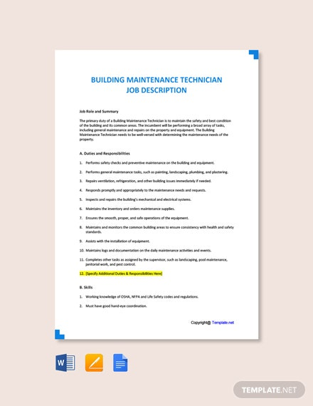 Building Maintenance Technician Job Description Template