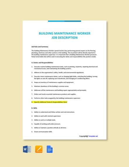 Free Building Maintenance Worker Job Description Template