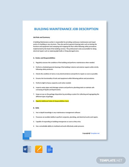 Free Building Maintenance Job Ad and Description Template