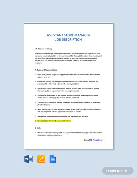 Free Assistant Store Manager Job Description Template