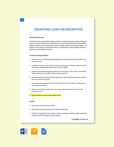 Free Bookstore Clerk Job Description Template