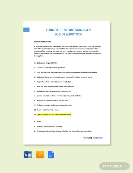 Free Furniture Store Manager Job Description Template