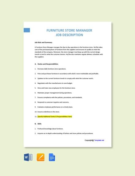 Free Furniture Store Manager Job Description Template