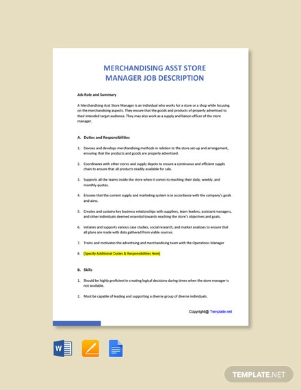 Free Merchandising Asst Store Manager Job Description Template