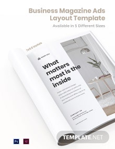 Free Business Magazine Ads Layout Template