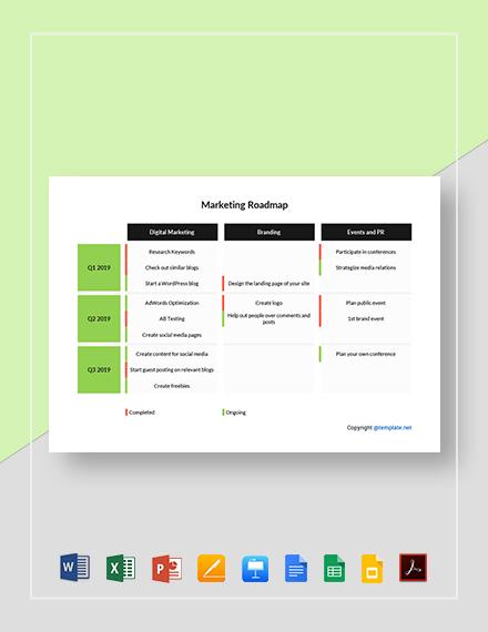 Free Simple Marketing Roadmap Template