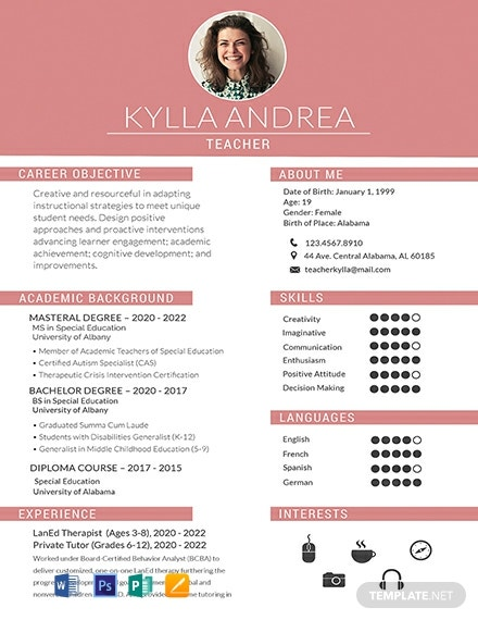 Free Fresher Teacher Resume Template Word Psd Indesign