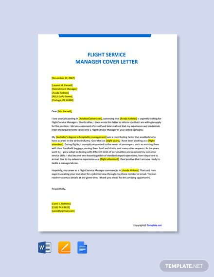 Free Flight Service Manager Cover Letter Template