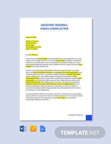 Free Assistant Baseball Coach Cover Letter Template