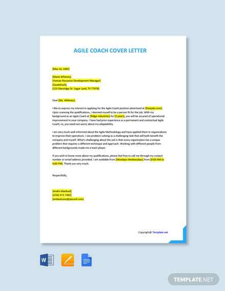 Free Agile Coach Cover Letter Template