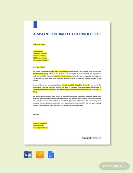 Free Assistant Football Coach Cover Letter Template