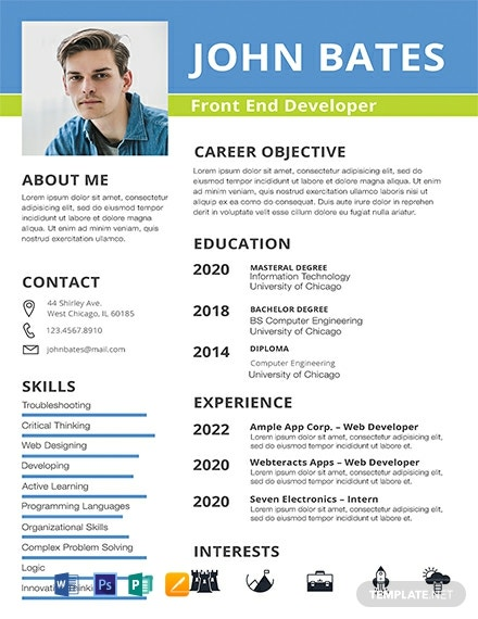 Free Front End Developer Resume Template Word Doc Psd Indesign Apple Mac Apple Mac Pages Publisher