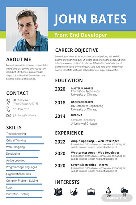 front end developer resume template