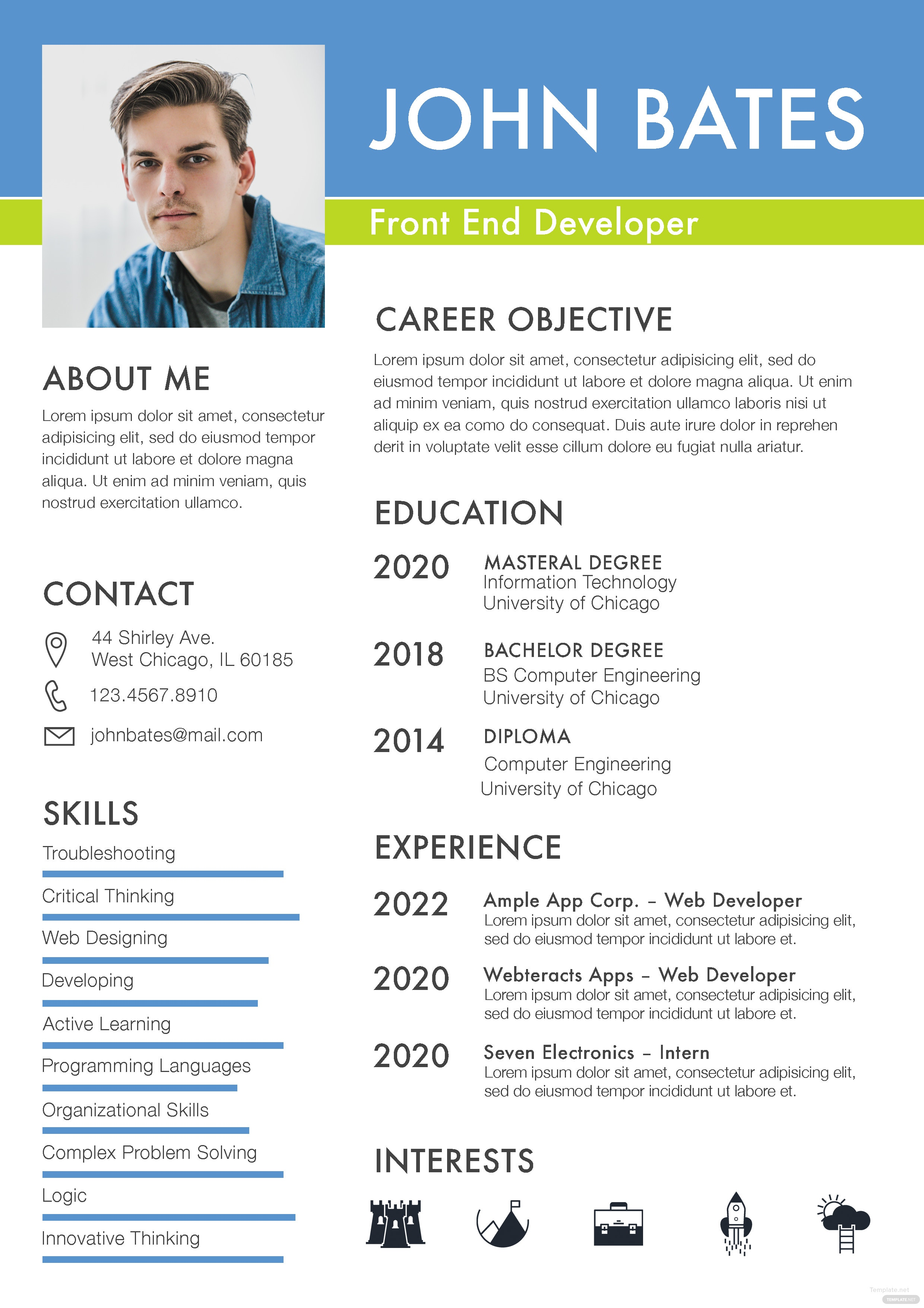 front end developer resume template in adobe photoshop