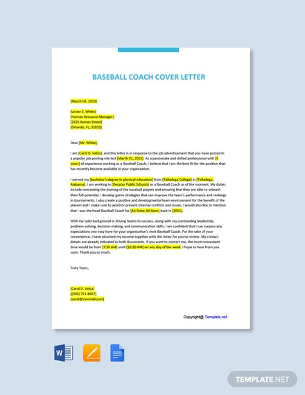 Free Baseball Coach Cover Letter Template
