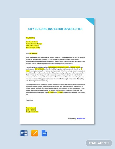 Free City Building Inspector Cover Letter Template