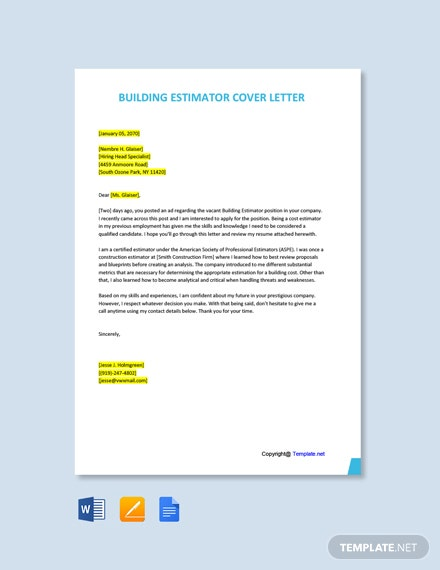 Free Building Estimator Cover Letter Template