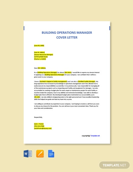 Free Building Operations Manager Cover Letter Template