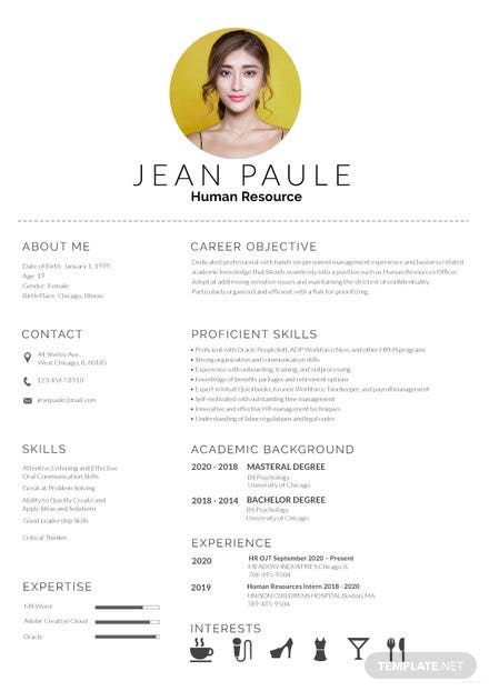 HR Fresher Resume Template