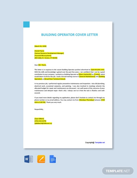 Free Building Operator Cover Letter Template