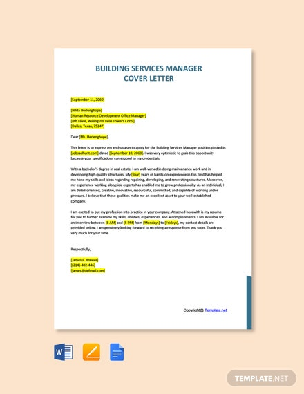 Free Building Services Manager Cover Letter Template