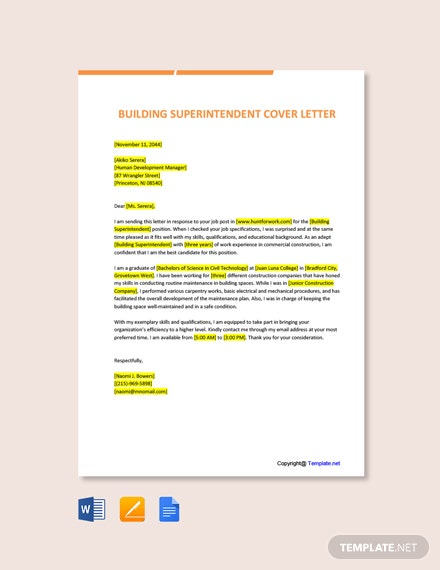 Free Building Superintendent Cover Letter Template
