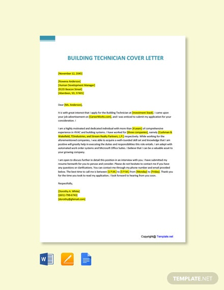 Free Building Technician Cover Letter Template