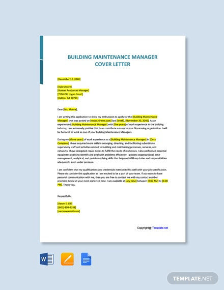 Free Building Maintenance Manager Cover Letter Template