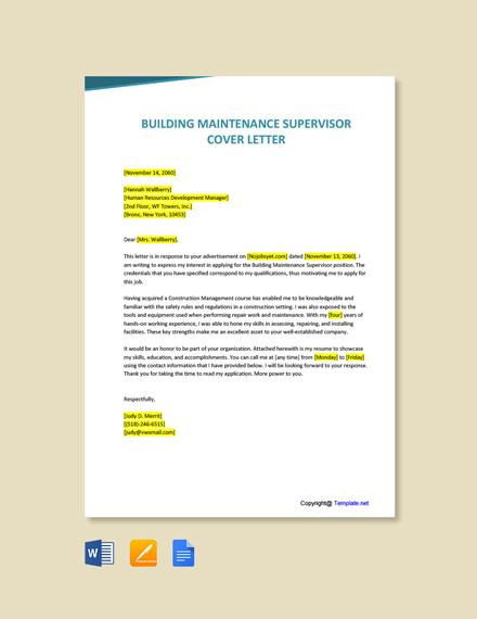 Free Building Maintenance Supervisor Cover Letter Template