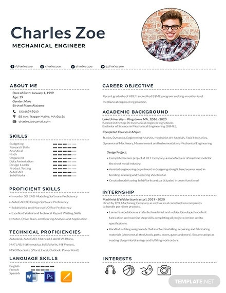 Free Mechanical Engineer Fresher Resume Template