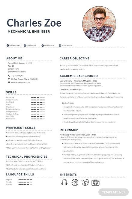 Mechanical Engineer Fresher Resume Template