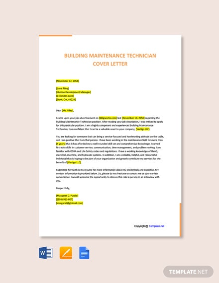 Free Building Maintenance Technician Cover Letter Template