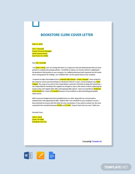 Free Bookstore Clerk Cover Letter Template