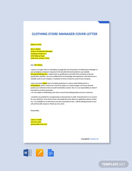 Free Clothing Store Manager Cover Letter Template