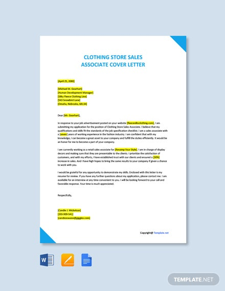 Free Clothing Store Sales Associate Cover Letter Template