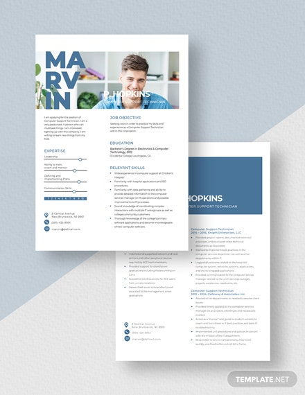 Computer Support Technician Resume Download