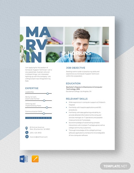 Computer Support Technician Resume Template