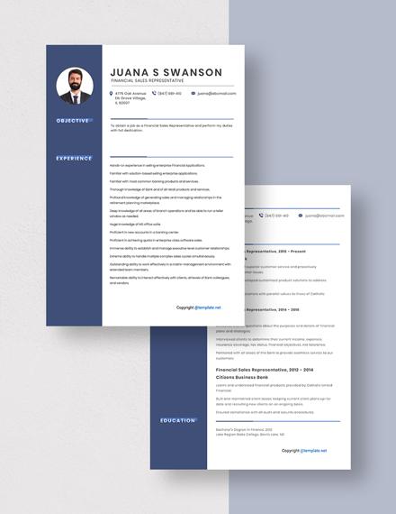 Financial Sales Representative Resume Download