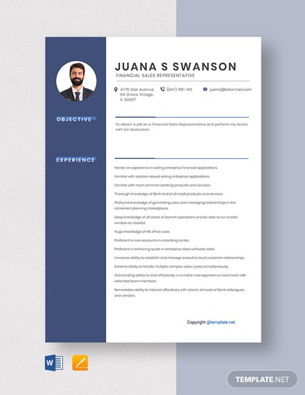 Free Financial Sales Representative Resume Template