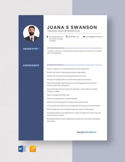 Free Financial Sales Representative Resume Template