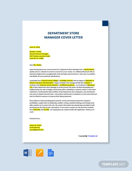 Free Department Store Manager Cover Letter Template
