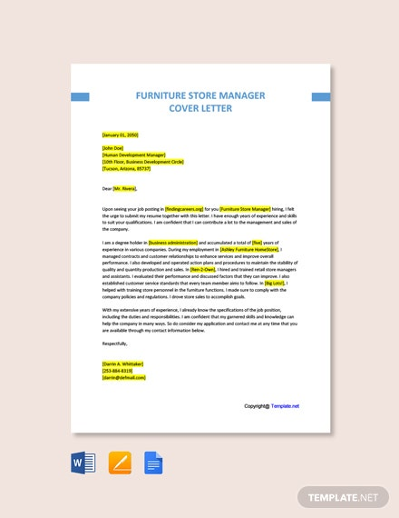 Free Furniture Store Manager Cover Letter Template