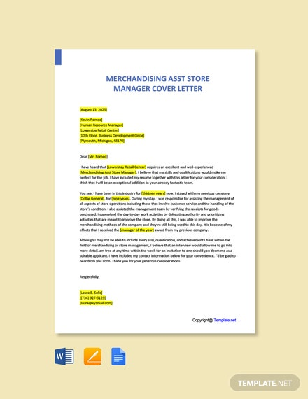 Free Merchandising Asst Store Manager Cover Letter Template