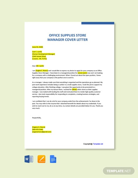 Free Office Supplies Store Manager Cover Letter Template