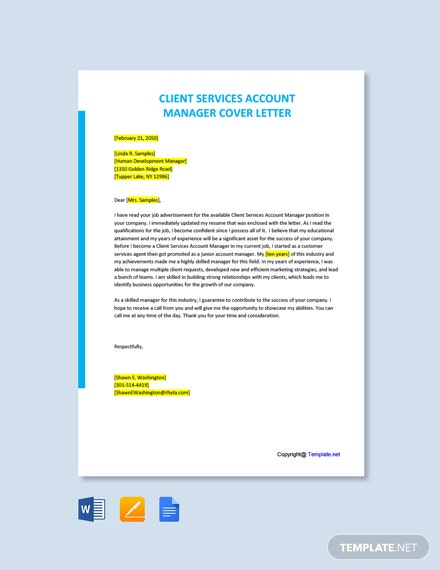 Free Client Services Account Manager Cover Letter Template