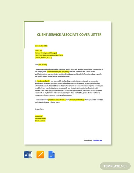 Free Client Service Associate Cover Letter Template