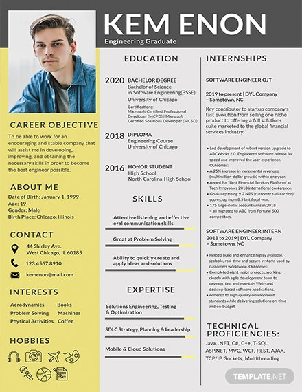 Free Resume Format for Engineering Freshers