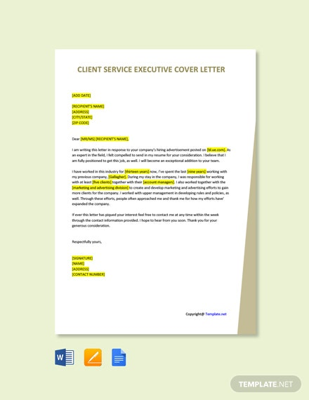 Free Client Service Executive Cover Letter Template